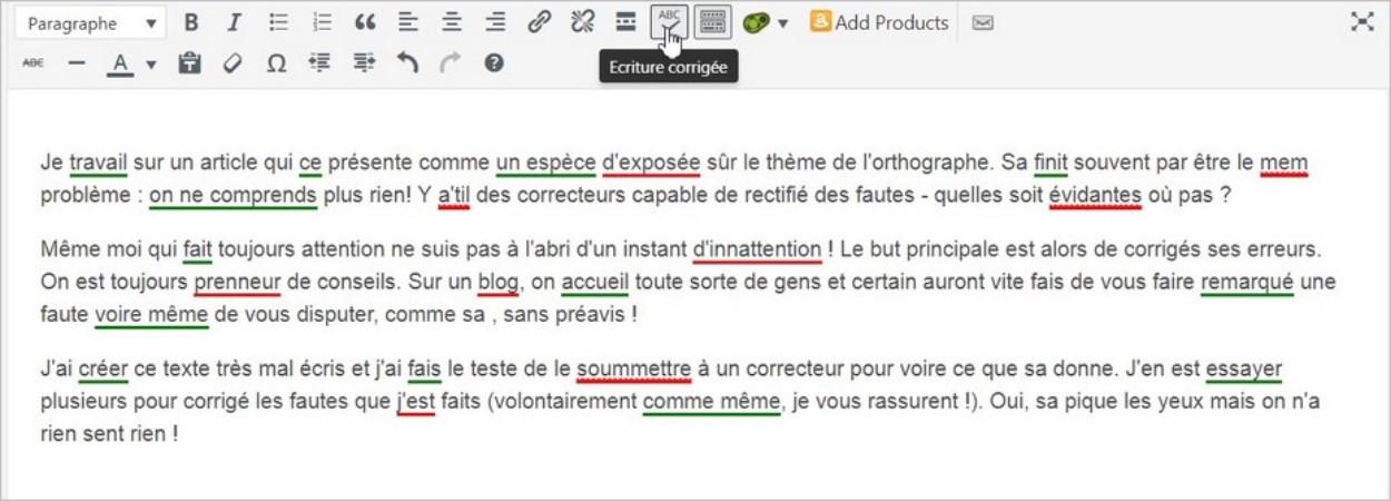 L'écriture corrigée sur JetPack de WordPress