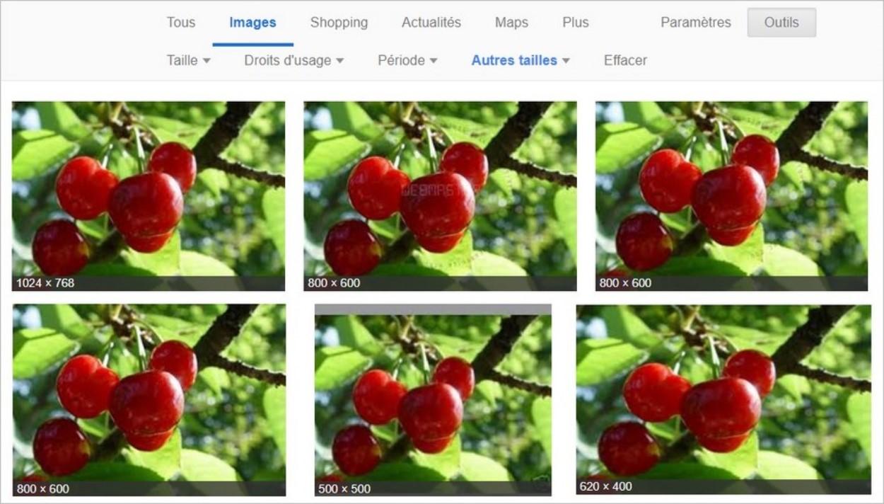 Résultats de recherche sur Google Images
