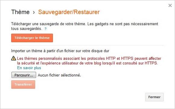 Menu Sauvegarder/Restaurer d'un thème Blogger