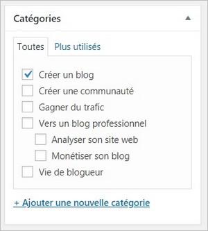 Ajouter un article à une catégorie WordPress