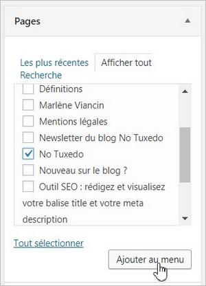 Ajouter une page au menu sur WordPress