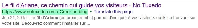 Affichage du fil d'Ariane sur Google