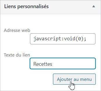 Créer un lien non cliquable dans un menu WordPress