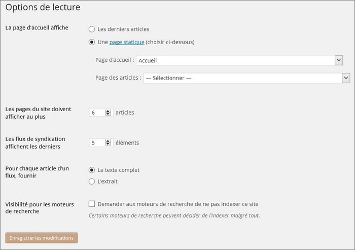 Options de lecture sur WordPress