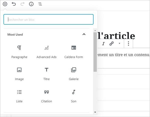 Ajouter des blocs à l'éditeur Gutenberg