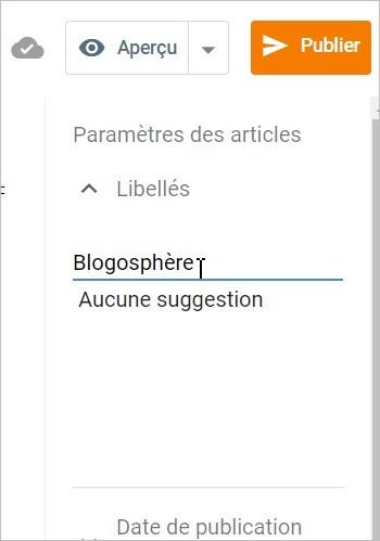 Ajouter un libellé sur Blogger