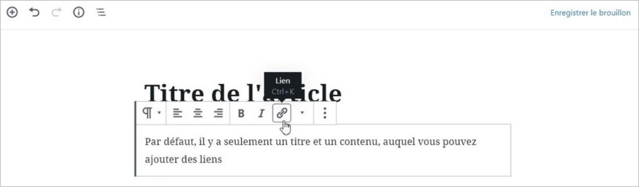 Interface de l'éditeur Gutenberg sur WordPress