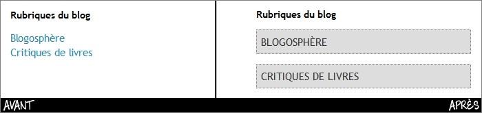Liste des catégories sur Blogger
