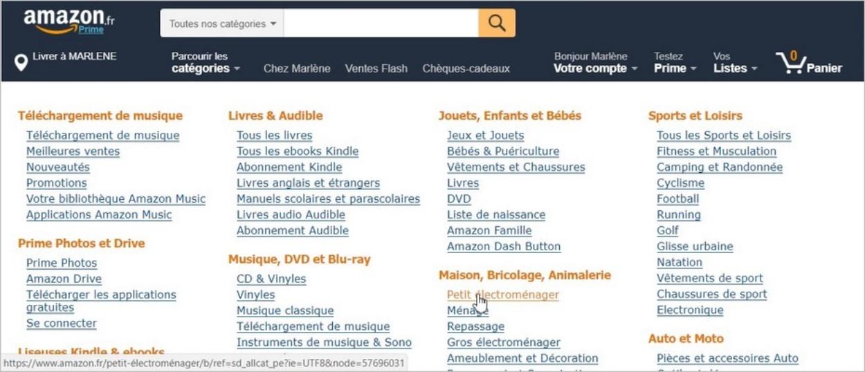 Amazon - Parcourir les rubriques