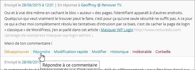 Répondre à un commentaire sur WordPress