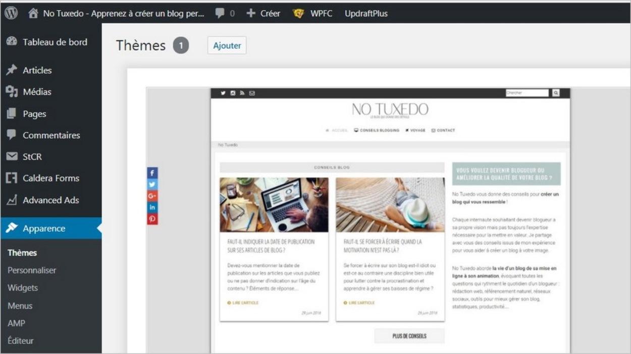 Le menu Thèmes sur WordPress