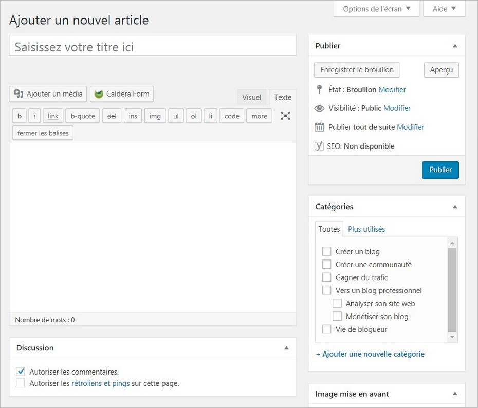Rédiger un article sur WordPress