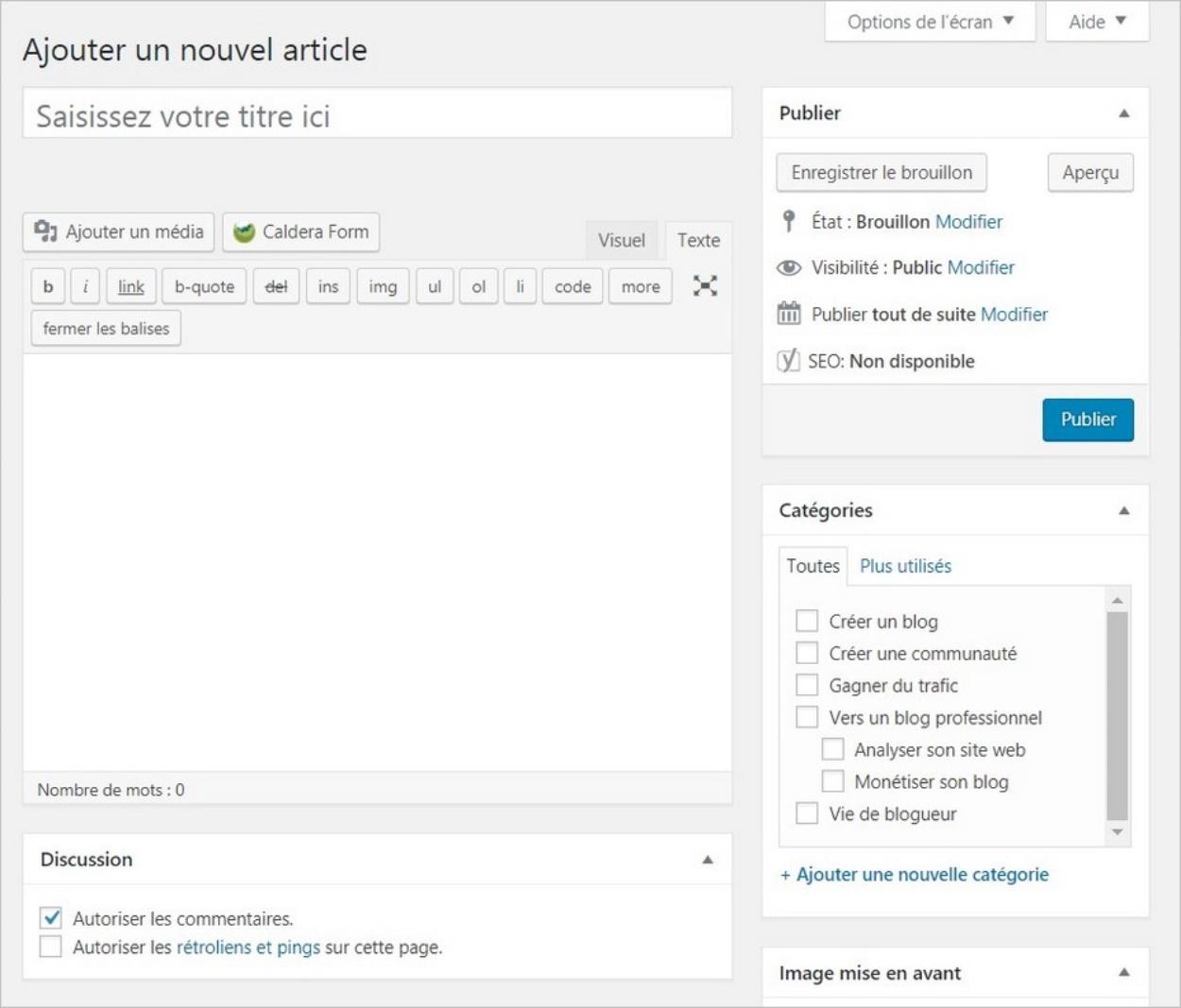 Rédiger un article sur WordPress