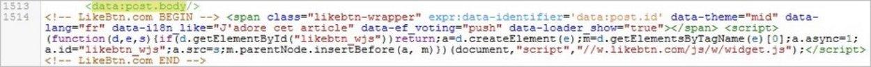 Afficher le code du bouton J'aime sur Blogger