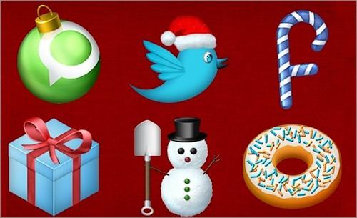 Icônes de réseaux sociaux pour Noël