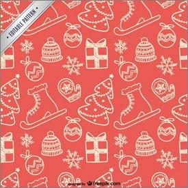 Motifs de Noël avec cadeaux, sapins et patins à glace