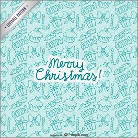 Motifs de Noël avec cadeaux et sucres d'orge
