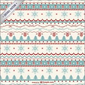 Motifs de Noël bleu, blanc, rouge en vectoriel