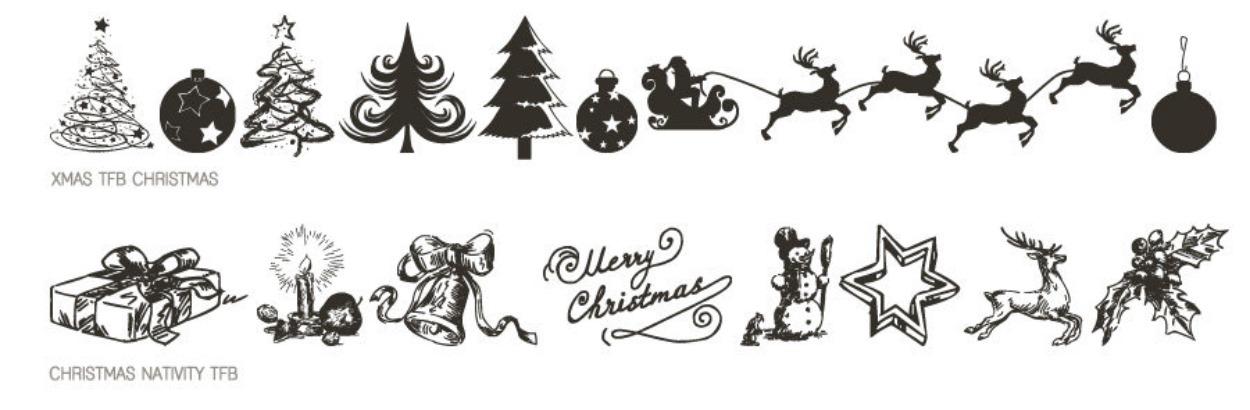 Police d'écriture de Noël avec icônes