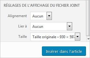 Réglages de l'affichage du fichier joint sur WordPress