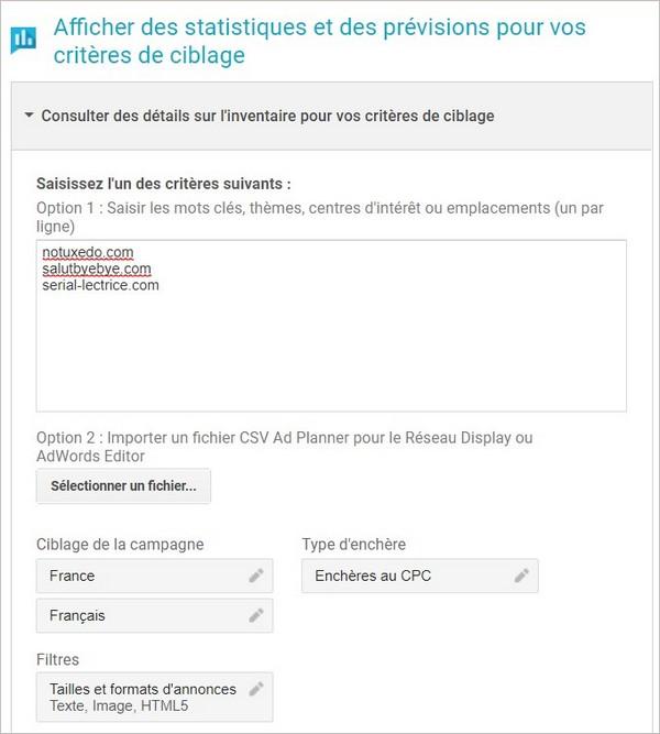 Utiliser Google Adwords Display Planner pour estimer le trafic d'un site