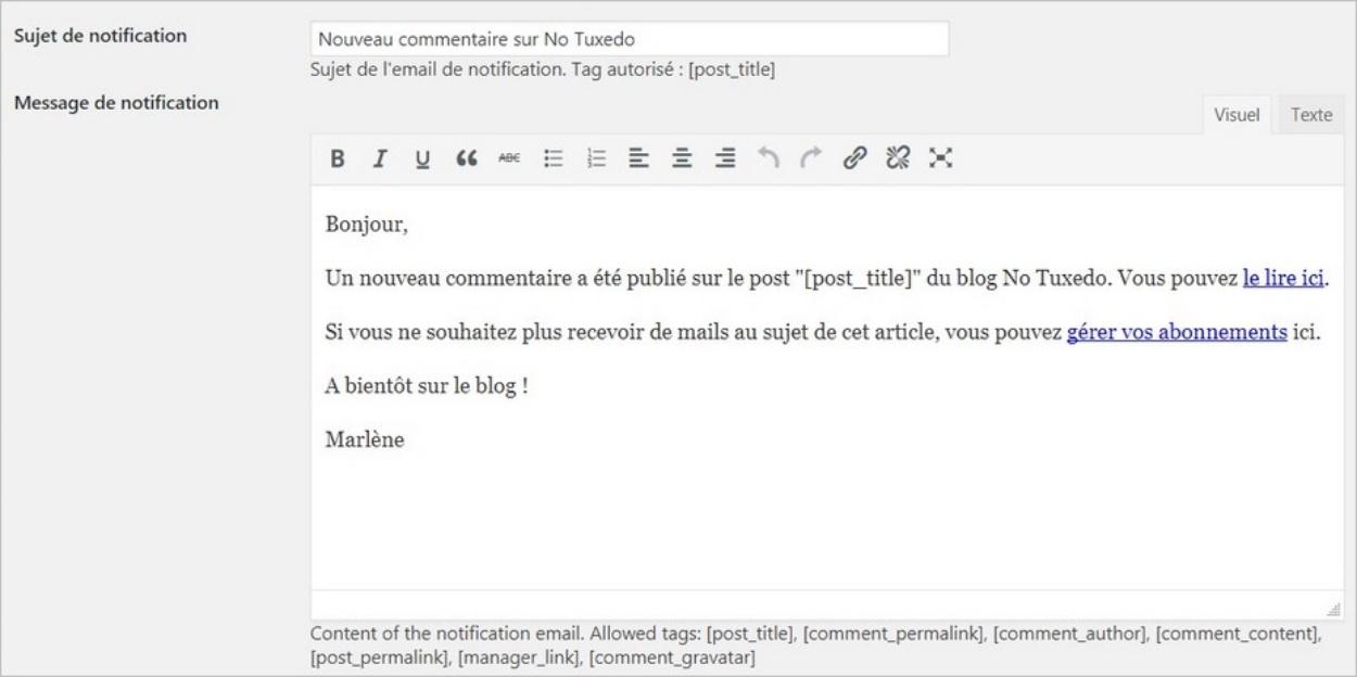 Notification en cas de nouveau commentaire sur le blog