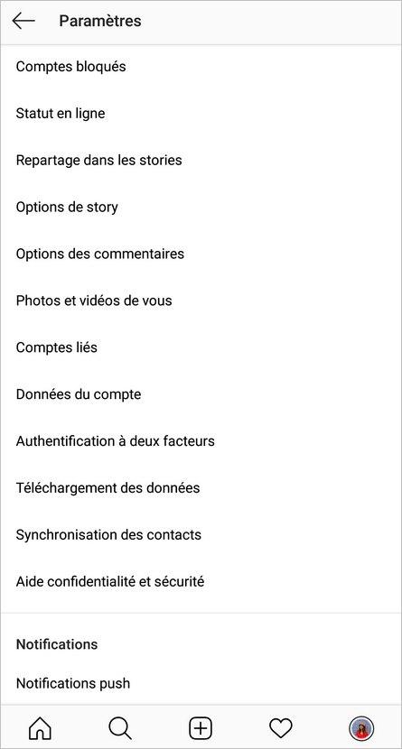 Paramètres Instagram - Comptes liés