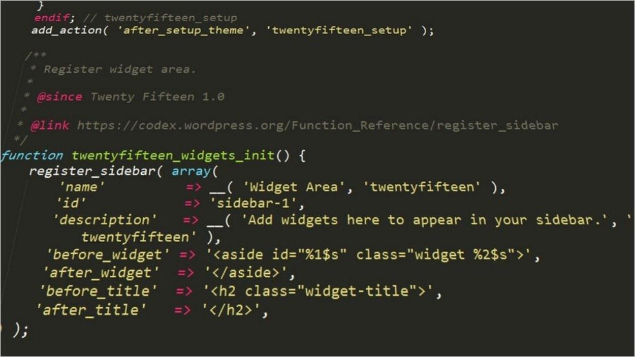 Des lignes de code sur WordPress
