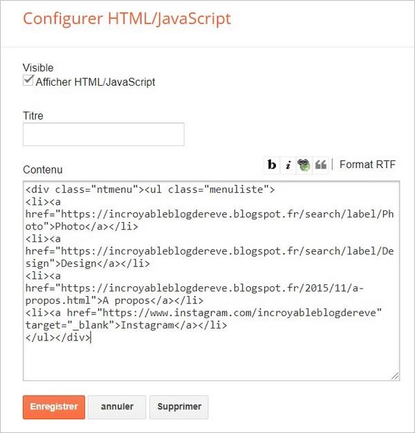 Gadget HTML JavaScript du menu