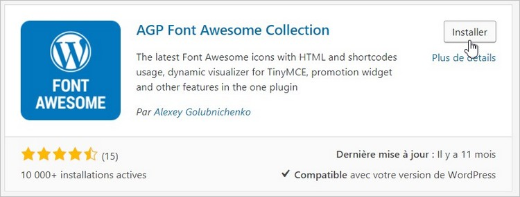 Plugin AGP Font Awesome Collection sur WordPress