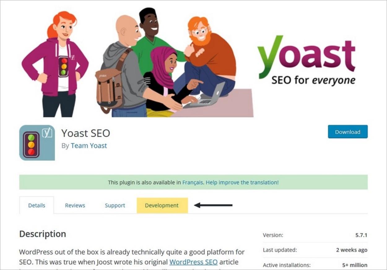 Le plugin Yoast dans le répertoire des extensions WordPress