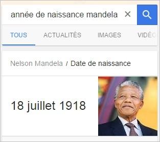 Année de naissance de Mandela