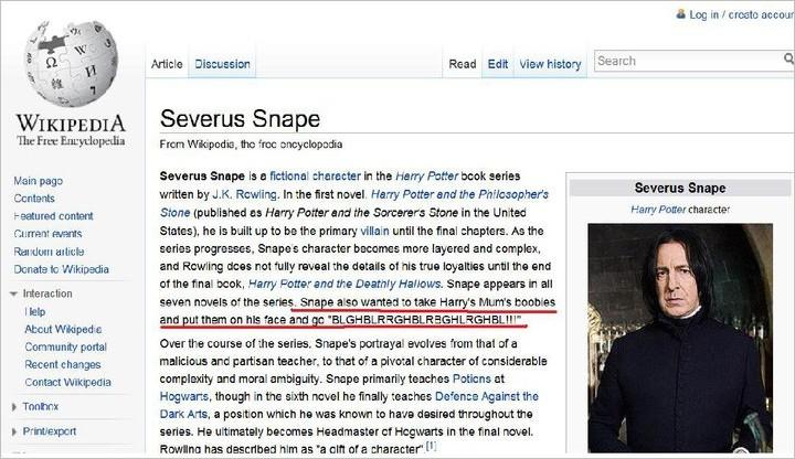 Severus Snape sur Wikipédia