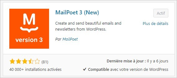 Installer le plugin de newsletter MailPoet