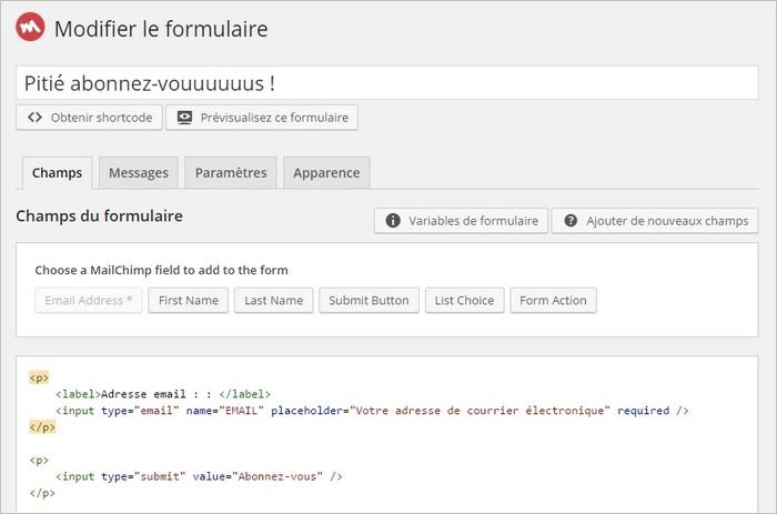 Personnaliser le formulaire MailChimp sur WordPress