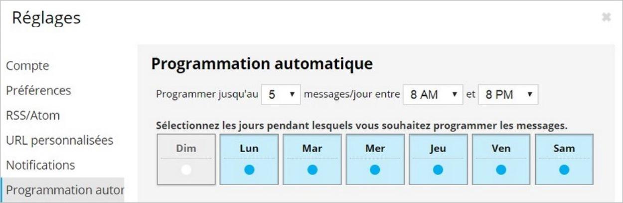 Réglages de la programmation automatique sur Hootsuite