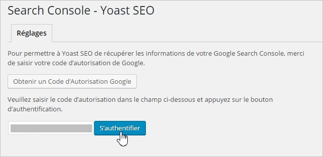 Authentification Search Console