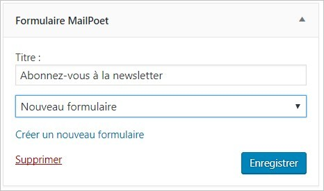Widget Newsletter MailPoet