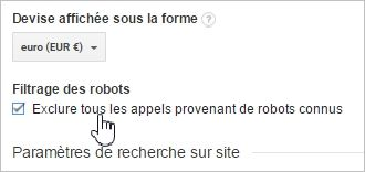 Exclure les robots de Google Analytics