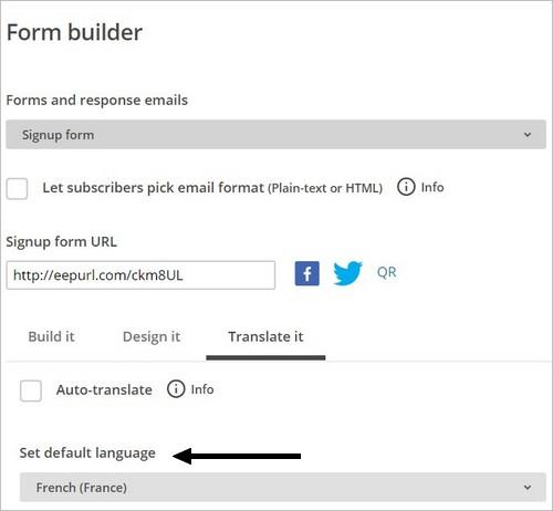 Traduire un formulaire d'inscription MailChimp