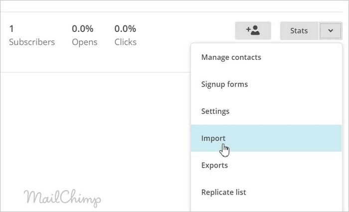 Importer des abonnés sur MailChimp