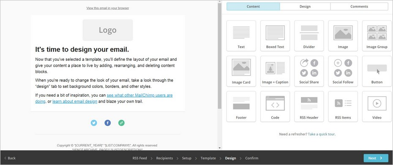 Mise en page sur MailChimp