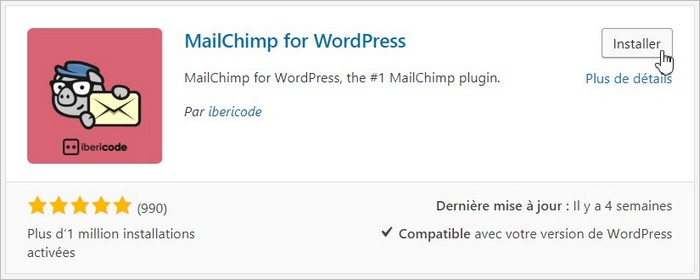 Installer le plugin MailChimp sur WordPress