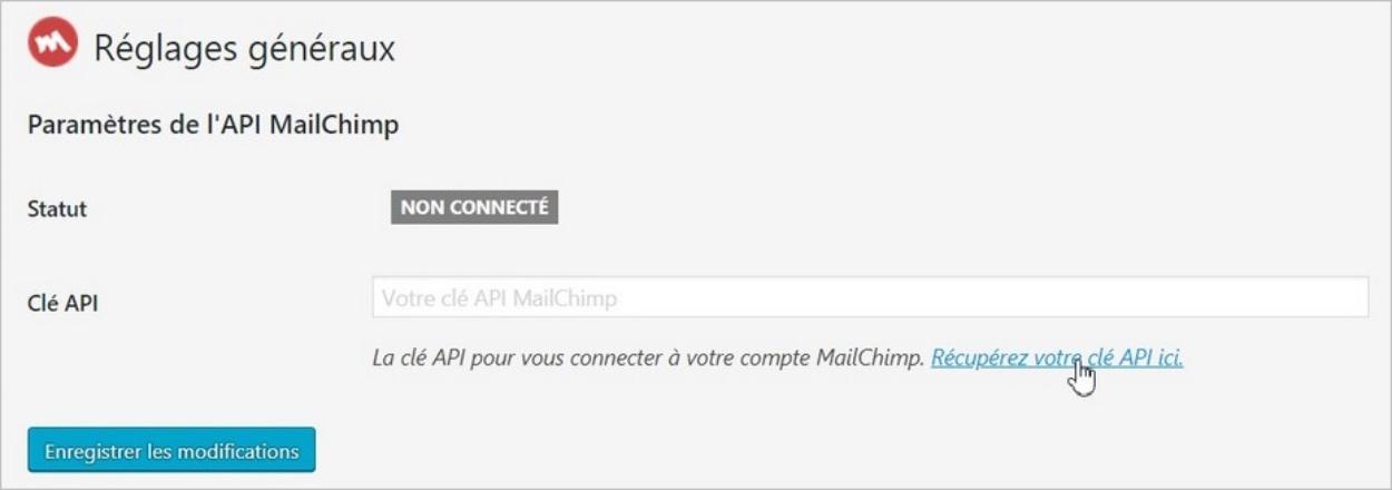 Récupérer une clé API MailChimp pour WordPress