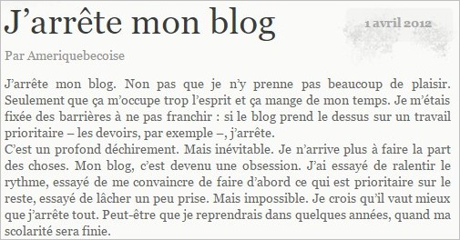 Fermer son blog par perfectionnisme