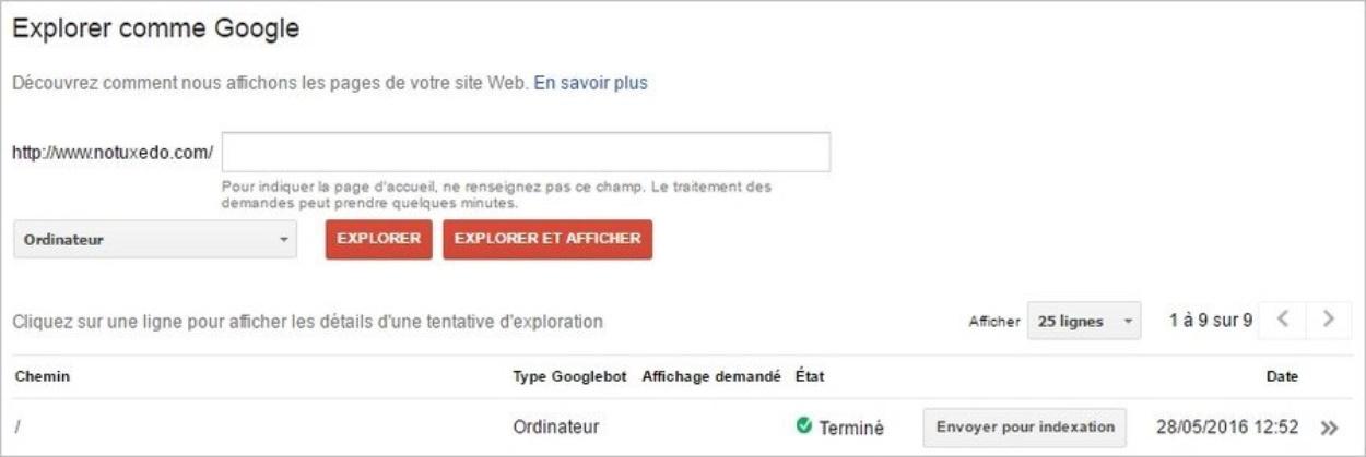 Envoyer une page pour indexation sur Google
