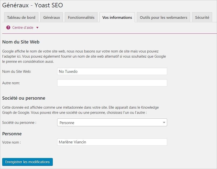 Yoast SEO : réglages généraux - Vos informations