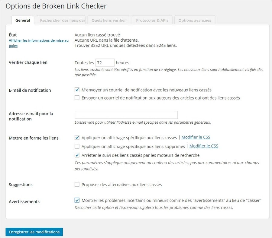 Options de Broken Link Checker