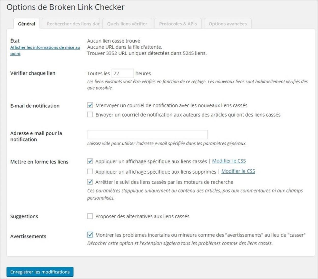 Options de Broken Link Checker