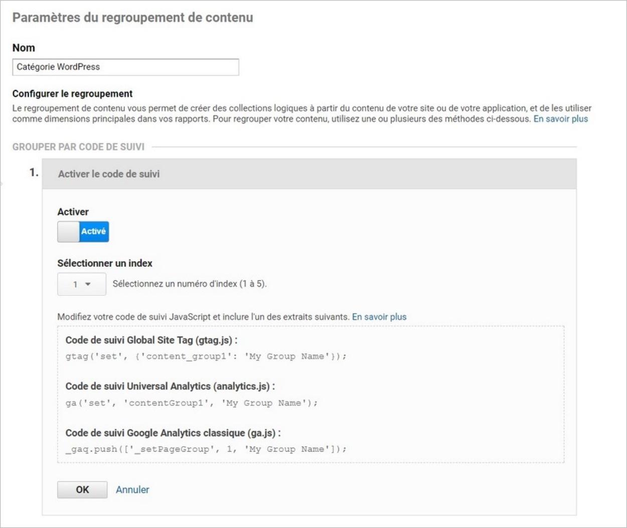 Regroupement de contenu sur Analytics